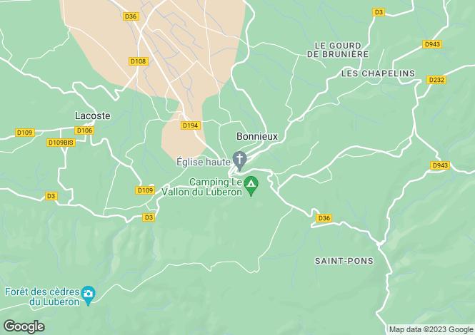 Map for Provence-Alps-Cote d`Azur, Vaucluse, Bonnieux