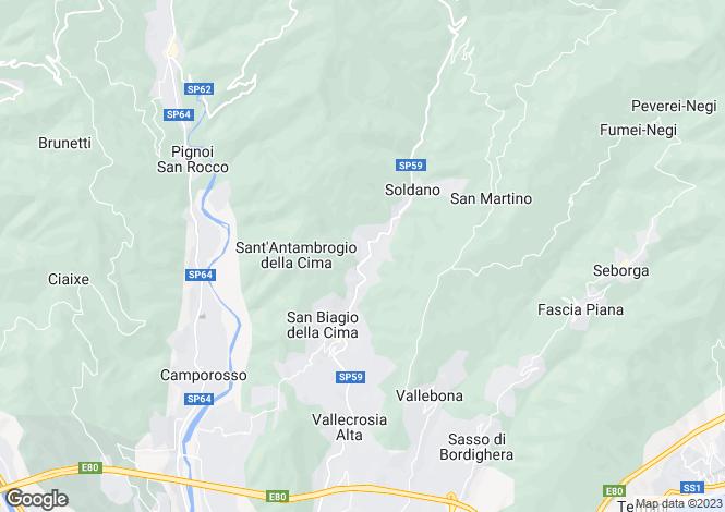 Map for Soldano, Imperia, Liguria