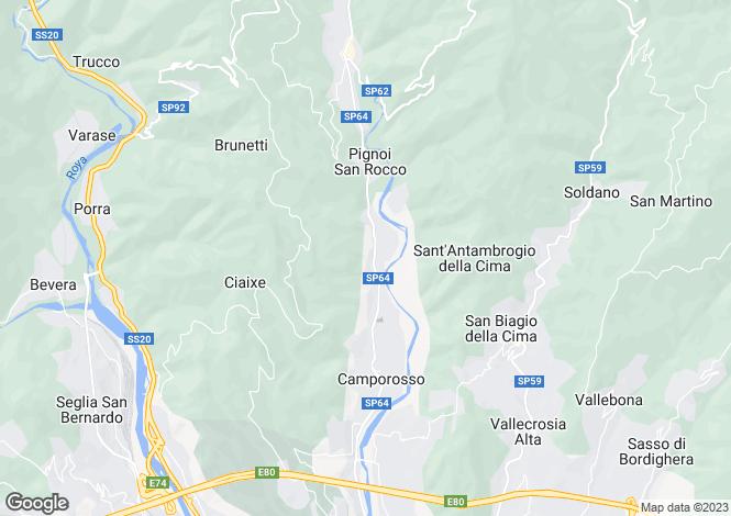 Map for Liguria, Imperia, Camporosso