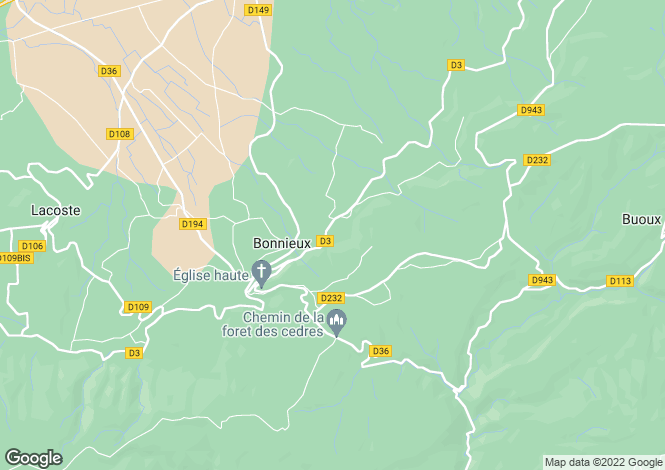 Map for Bonnieux, Luberon, Provence