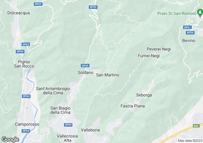Map for Liguria, Imperia, Soldano