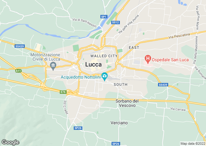 Map for Lucca, Tuscany, Italy