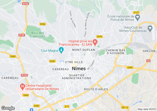 Map for nimes, Gard, France