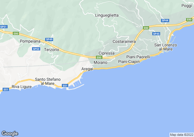 Map for Liguria, Imperia, Cipressa