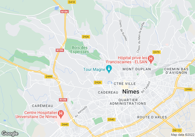 Map for Nîmes, Gard, Languedoc-Roussillon