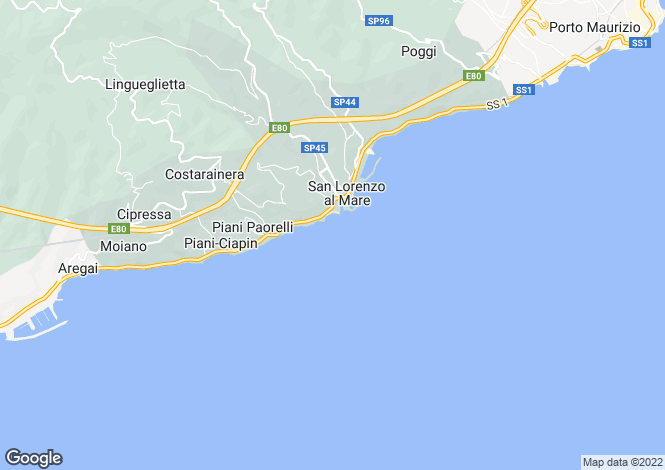 Map for San Lorenzo al Mare, Imperia, Liguria