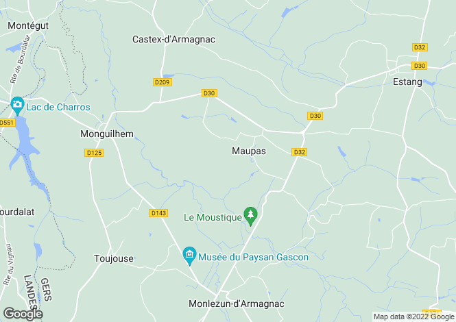 Map for maupas, Gers, France