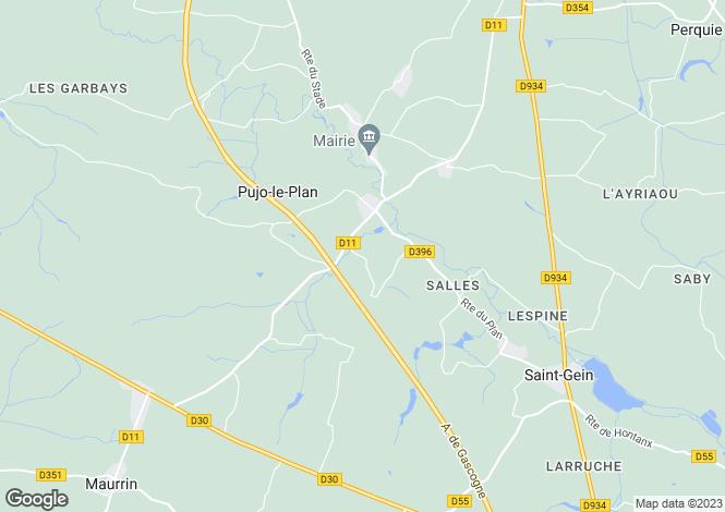 Map for pujo-le-plan, Landes, France