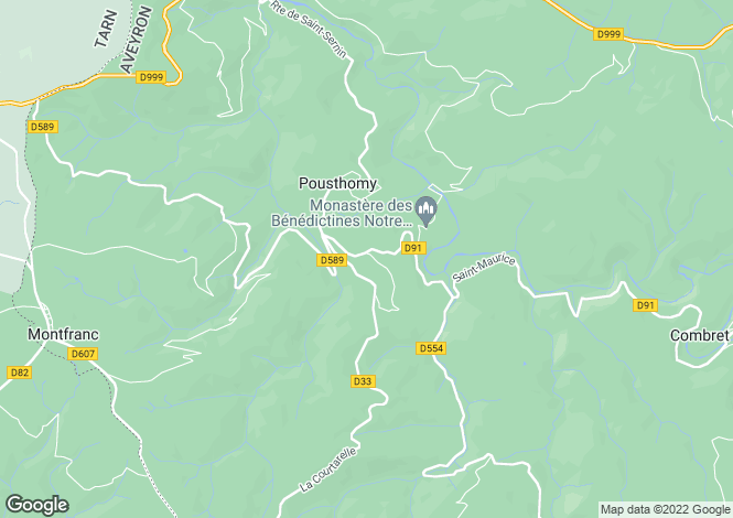 Map for Midi-Pyrénées, Aveyron, Pousthomy
