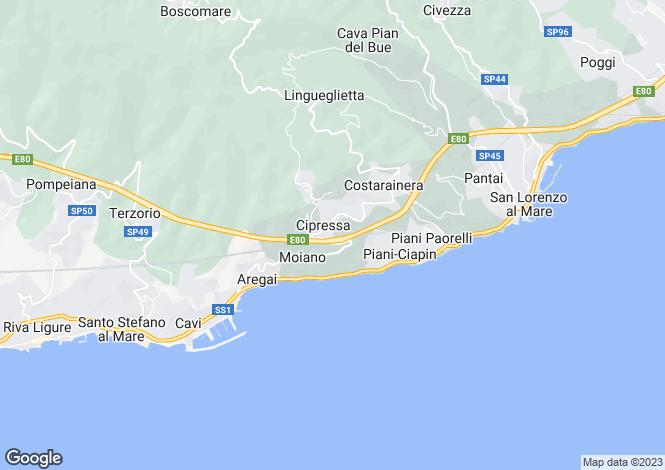 Map for Liguria, Imperia, Cipressa