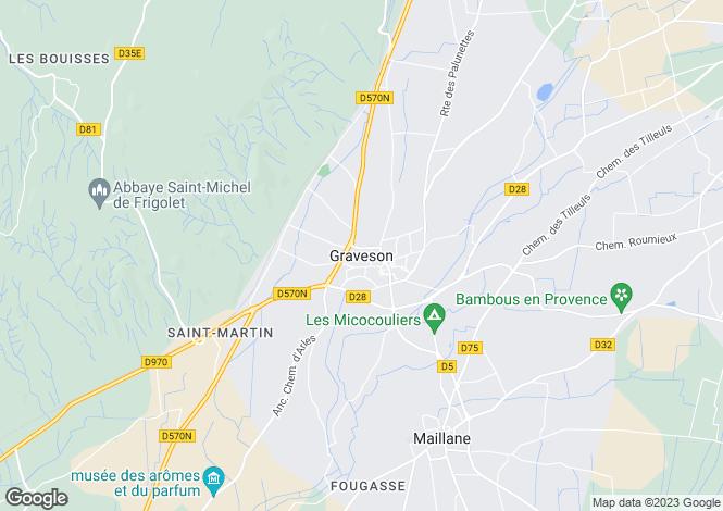 Map for Provence-Alps-Cote d`Azur, Bouches-du-Rhône, Graveson