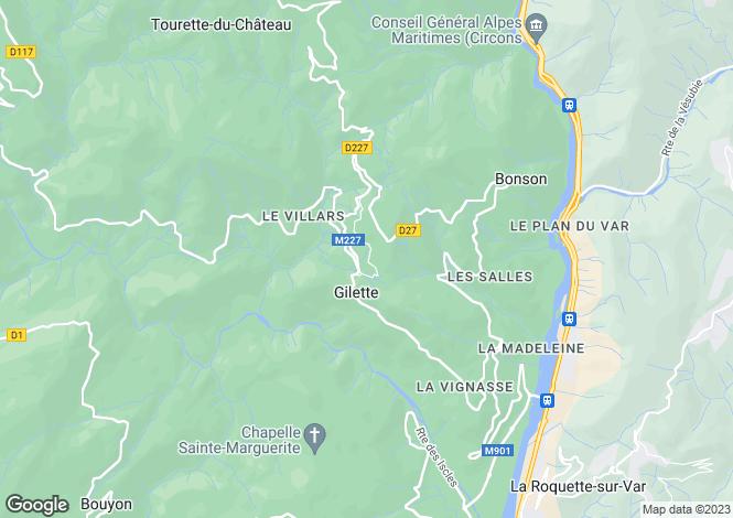 Map for Provence-Alps-Cote d`Azur, Alpes-Maritimes, Gilette