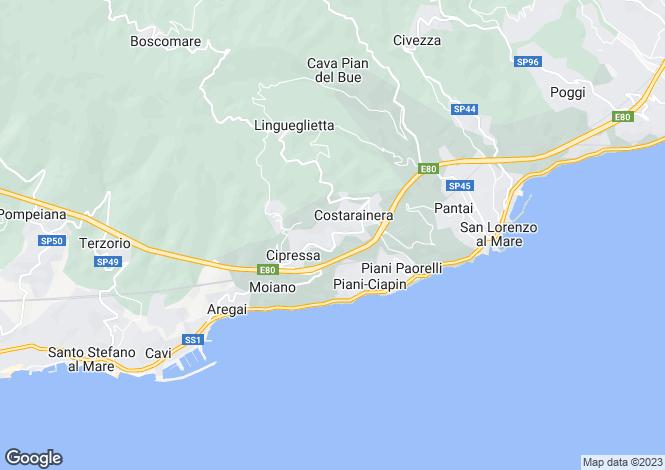 Map for Cipressa, Imperia, Liguria