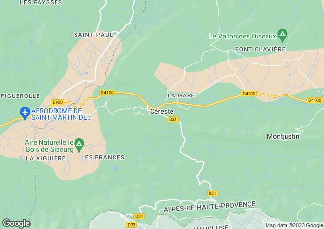 Map for Provence-Alps-Cote d`Azur, Alpes-de-Haute-Provence, Céreste