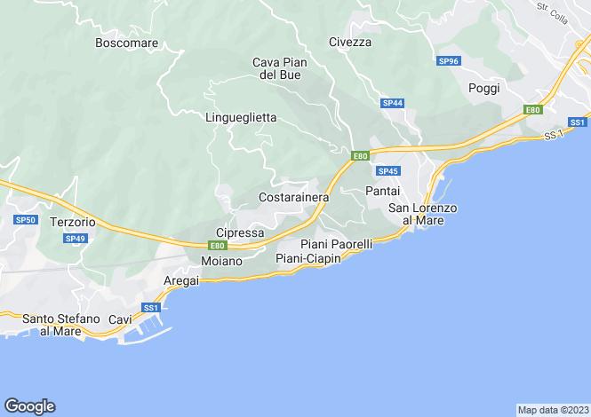 Map for Liguria, Imperia, Costarainera