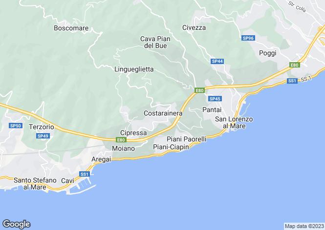 Map for Costarainera, Imperia, Liguria