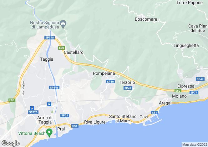 Map for Pompeiana, Imperia, Liguria