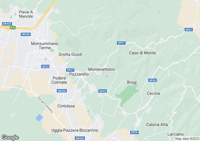 Map for Villa Mori, Montevettolini, Tuscany, Italy