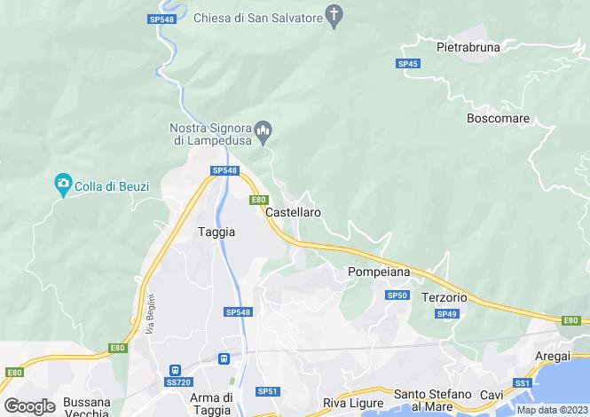 Map for Castellaro, Imperia, Liguria