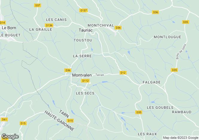 Map for montvalen, Tarn, France