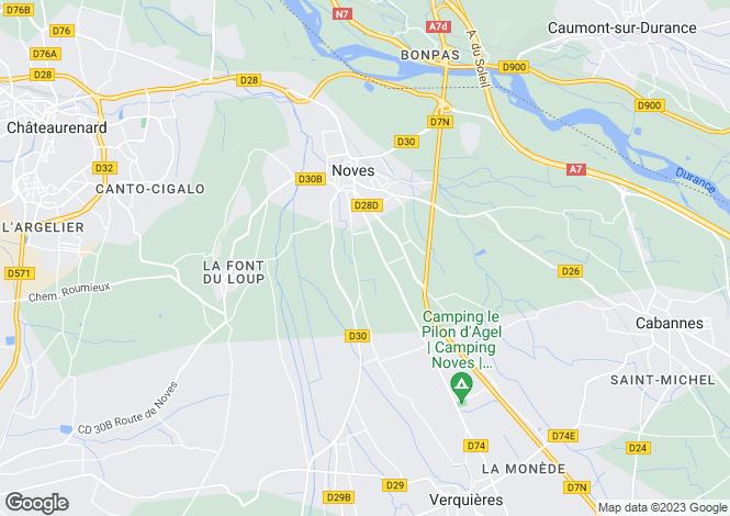 Map for Noves, Alpilles, Bouches-Du-Rhone, France