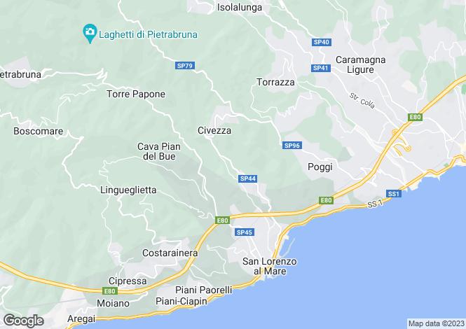 Map for Civezza, Imperia, Liguria