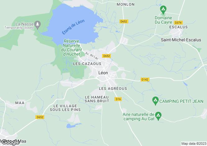 Map for leon, Landes, France