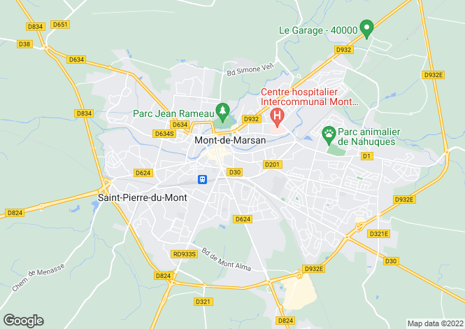 Map for Aquitaine, Landes, Mont-de-Marsan