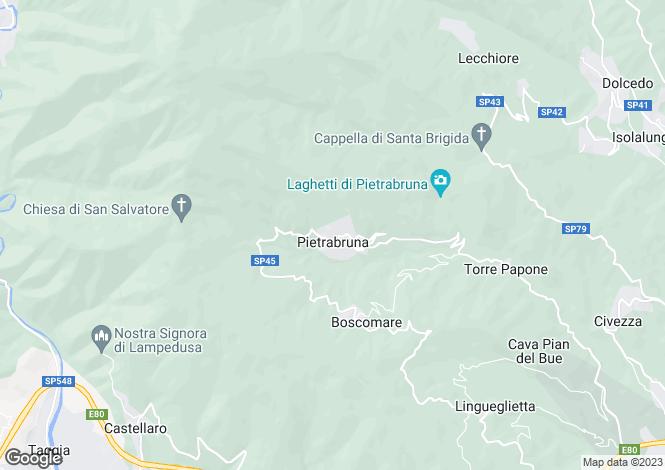 Map for Liguria, Imperia, Pietrabruna