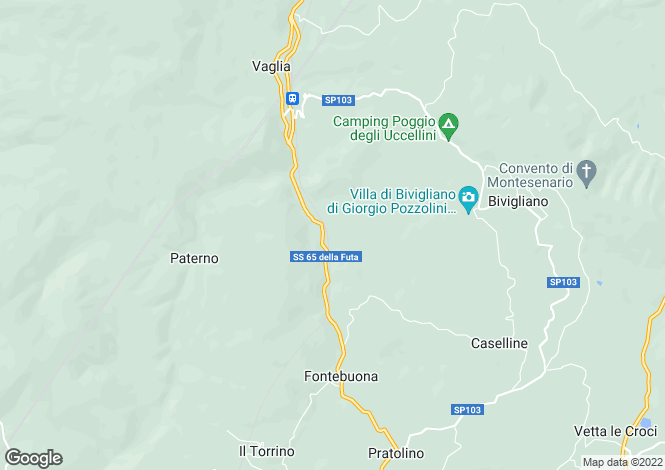 Map for Vaglia, Florence, Tuscany