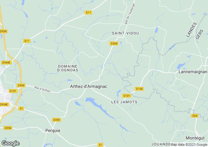 Map for arthez-d-armagnac, Landes, France