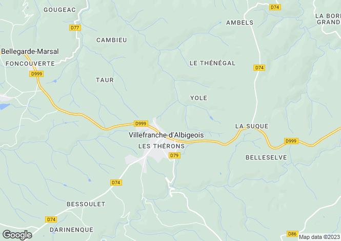 Map for Midi-Pyrénées, Tarn, Villefranche-d`Albigeois