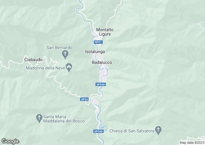 Map for Liguria, Imperia, Badalucco
