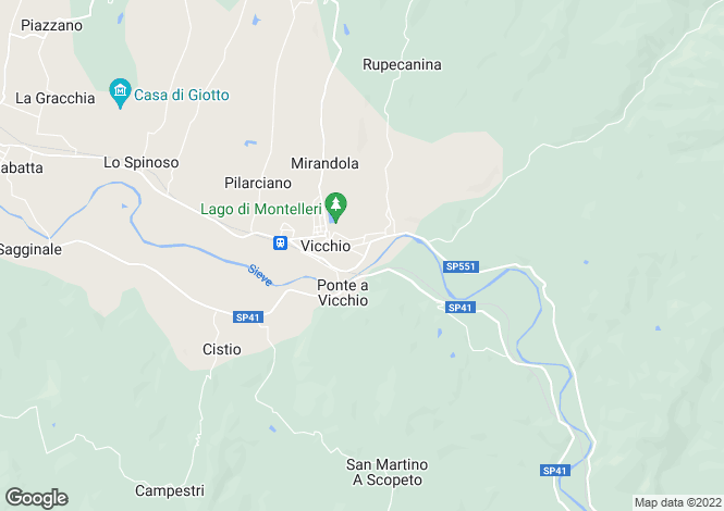 Map for Tuscany, Florence, Vicchio