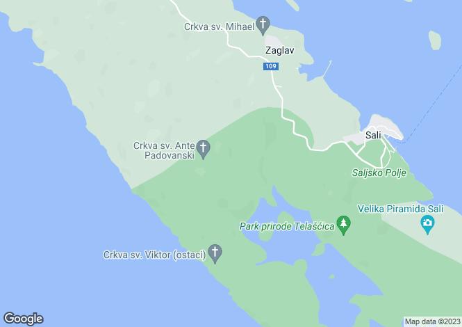 Map for Dugi Otok, Croatia