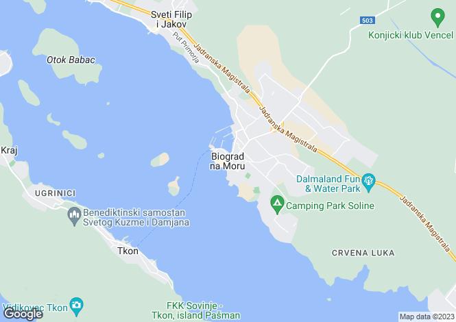 Map for Zadar-Knin, Biograd na Moru, Croatia