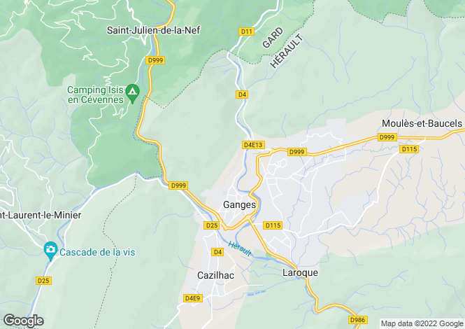Map for ganges, Hérault, France