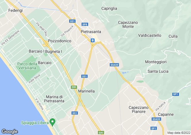 Map for Tuscany, Lucca, Pietrasanta