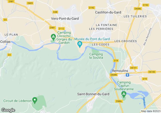 Map for Secteur: Pont du Gard, Gard