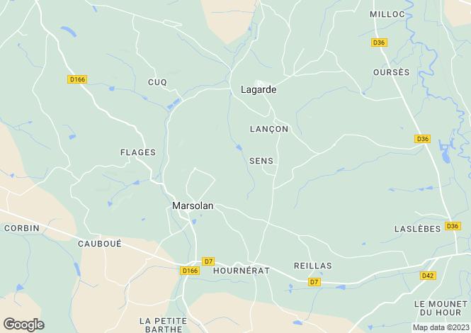 Map for Midi-Pyrenees, Gers, Marsolan
