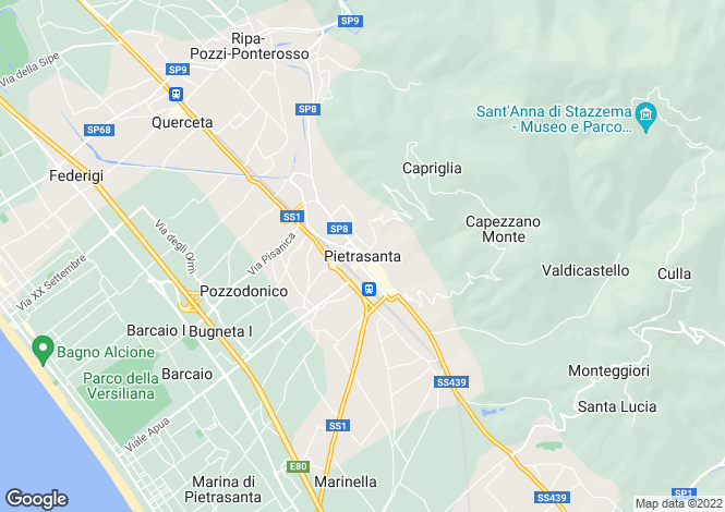 Map for Pietrasanta, Tuscany, Italy