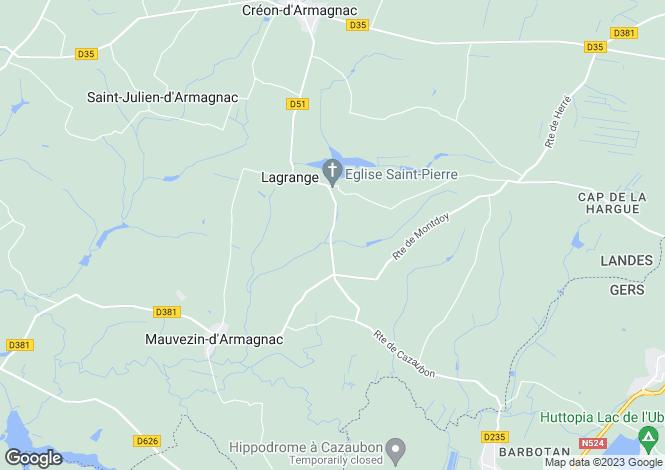 Map for lagrange, Landes, France