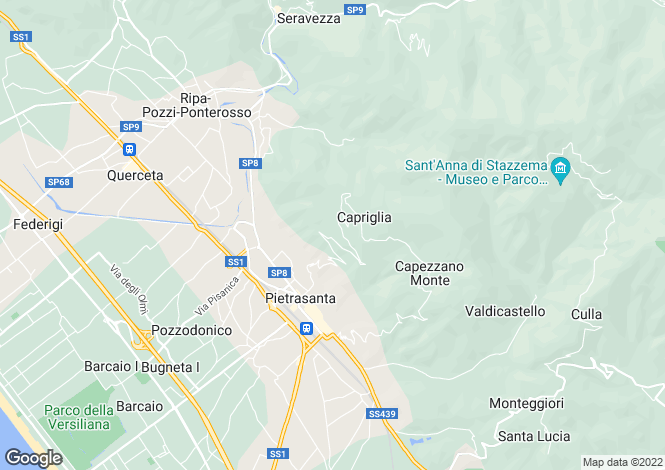 Map for Pietrasanta, Lucca, Tuscany