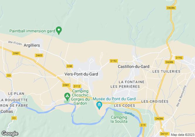 Map for Vers-Pont-du-Gard, Gard, Languedoc-Roussillon
