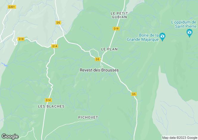 Map for Provence-Alps-Cote d`Azur, Alpes-de-Haute-Provence, Revest-des-Brousses