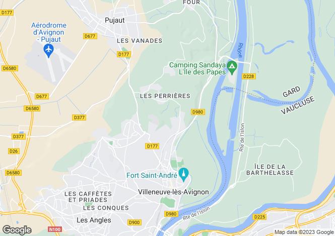 Map for Languedoc-Roussillon, Gard, Villeneuve-Les-Avignon