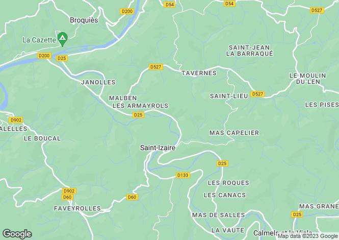 Map for Midi-Pyrénées, Aveyron, St-Izaire