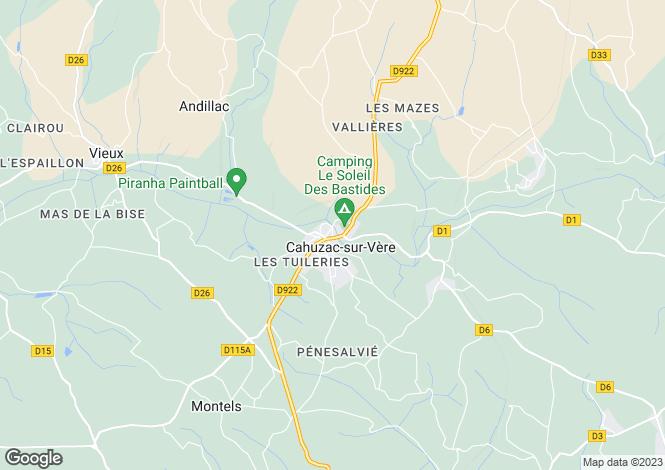 Map for Midi-Pyrénées, Tarn, Cahuzac-sur-Vère