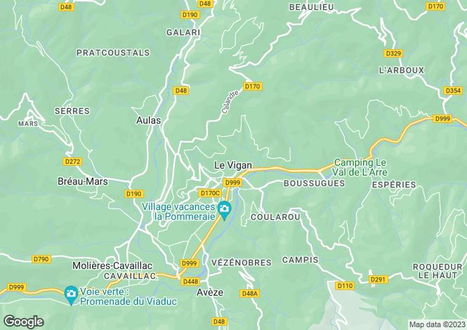 Map for Secteur: Le Vigan, Gard