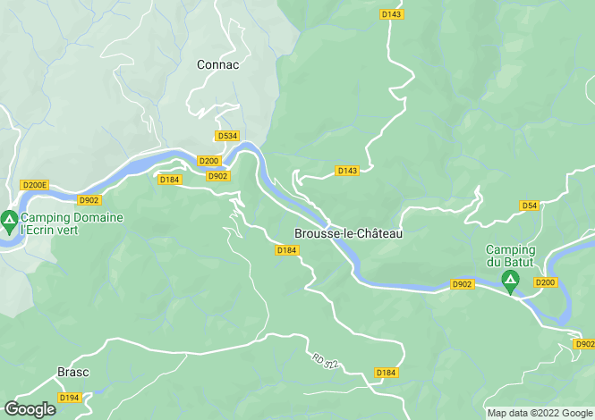 Map for Midi-Pyrenees, Aveyron, Brousse-le-Château